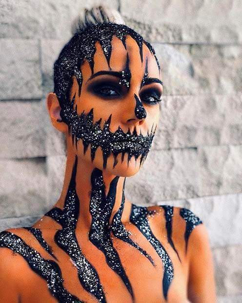 halloween glitter pumpkin makeup ideas for women