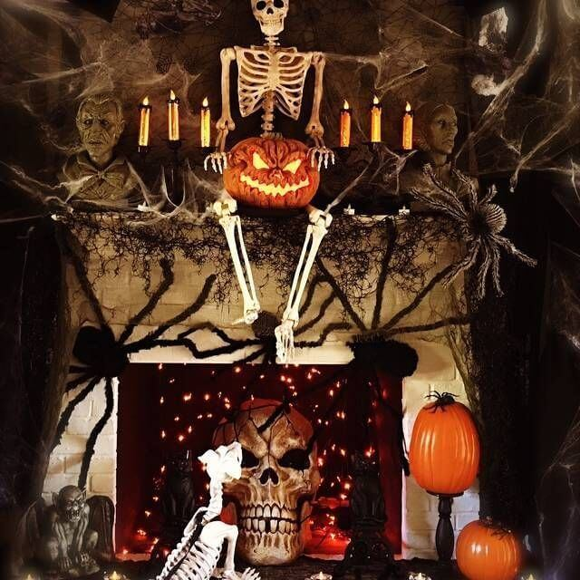 halloween skeleton skull fireplace mantel decor ideas