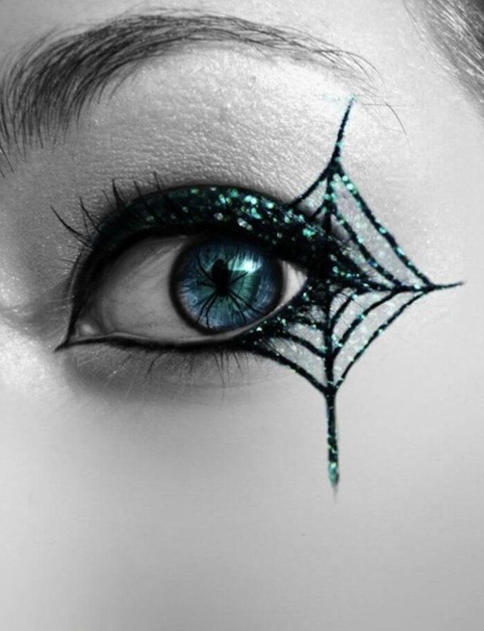 halloween spider web glitter eye makeup