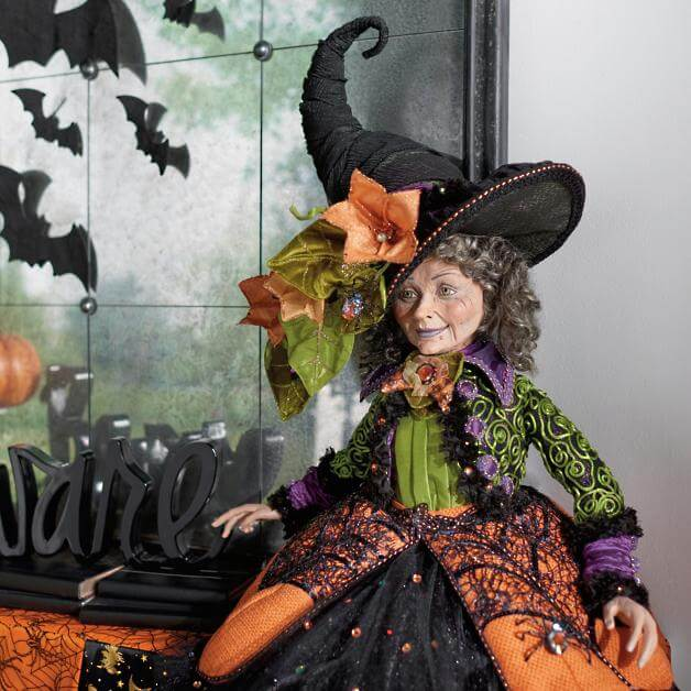 halloween witch doll decoration ideas for fireplace mantel