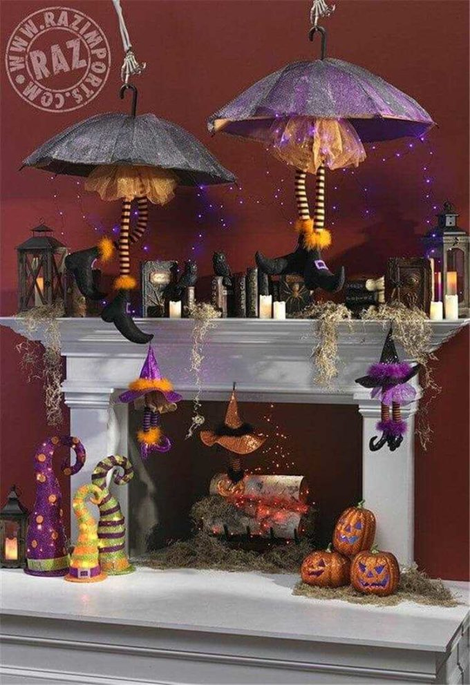 halloween witches inspired fireplace mantle decor