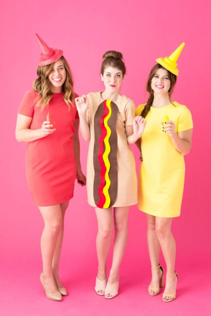 hot dog ketchup and mustard trio halloween costumes