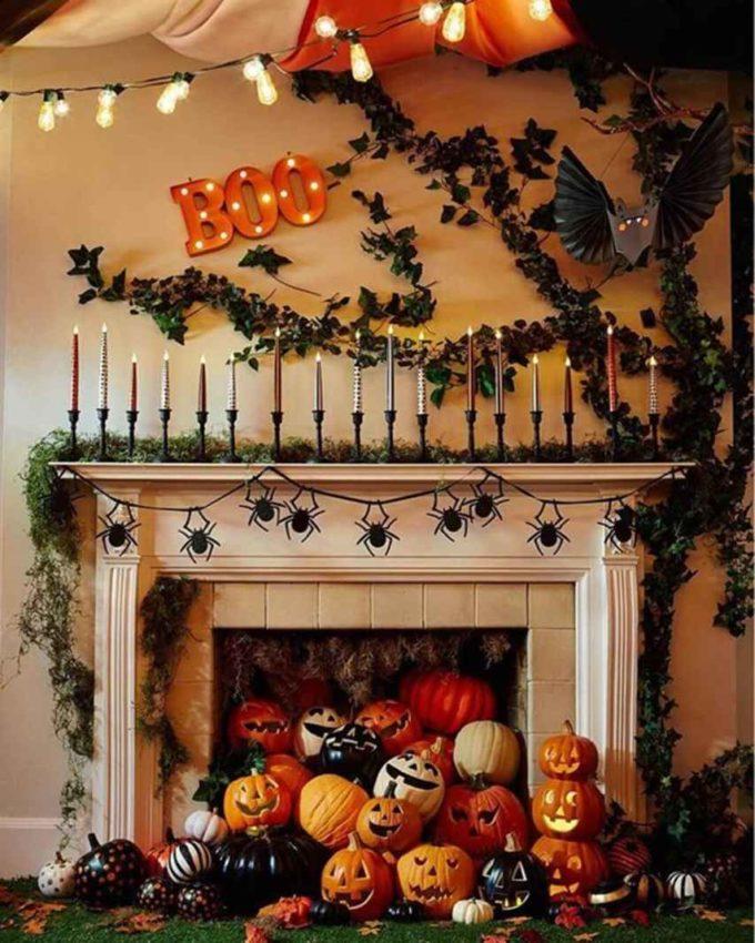 jack o lantern fireplace decor ideas