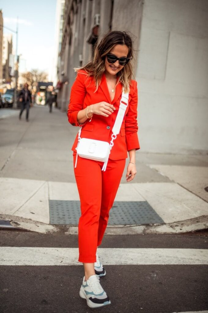 red pant suit outfit ideas for fall