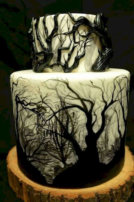 scary shadow trees halloween wedding cake