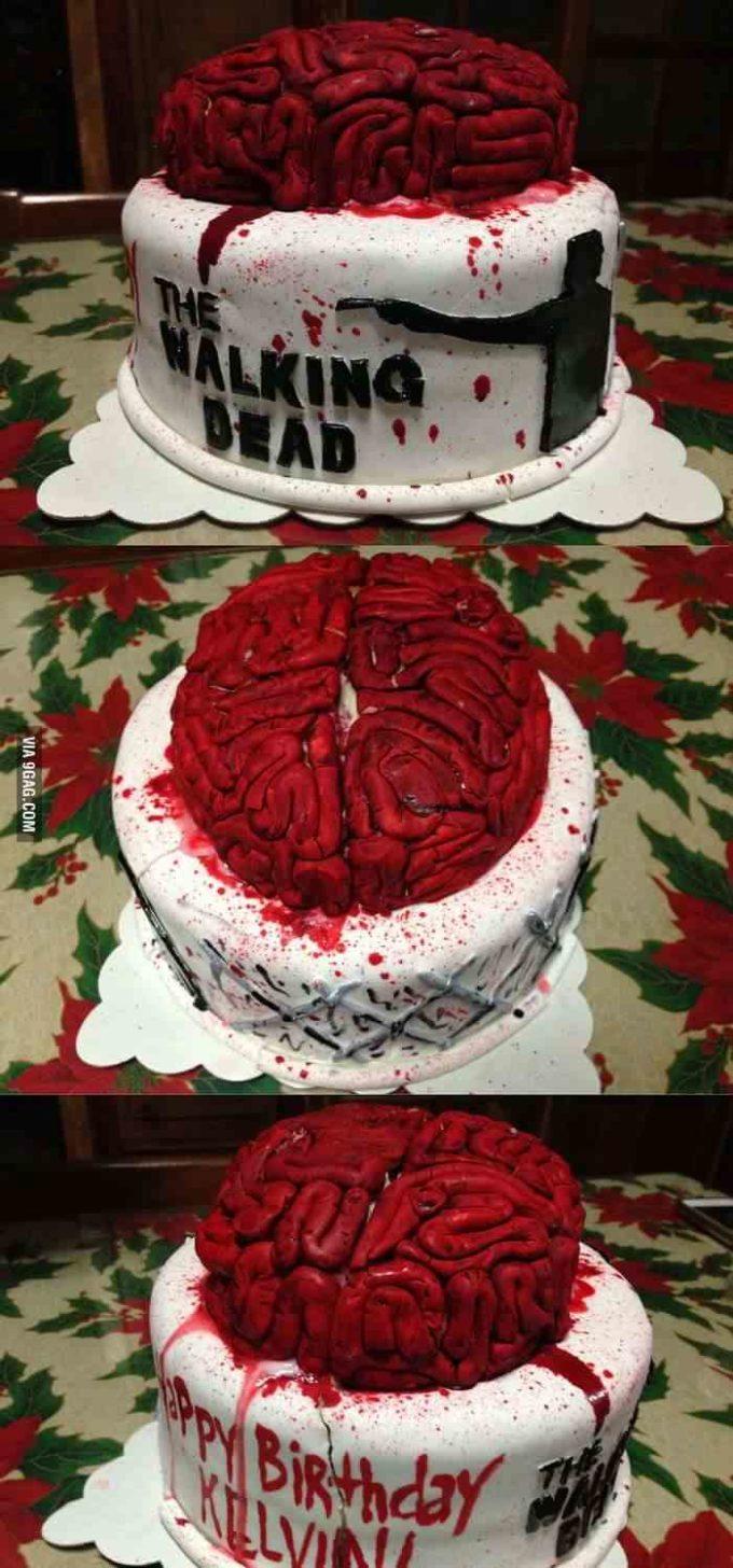 the walking dead raw brain halloween wedding cake