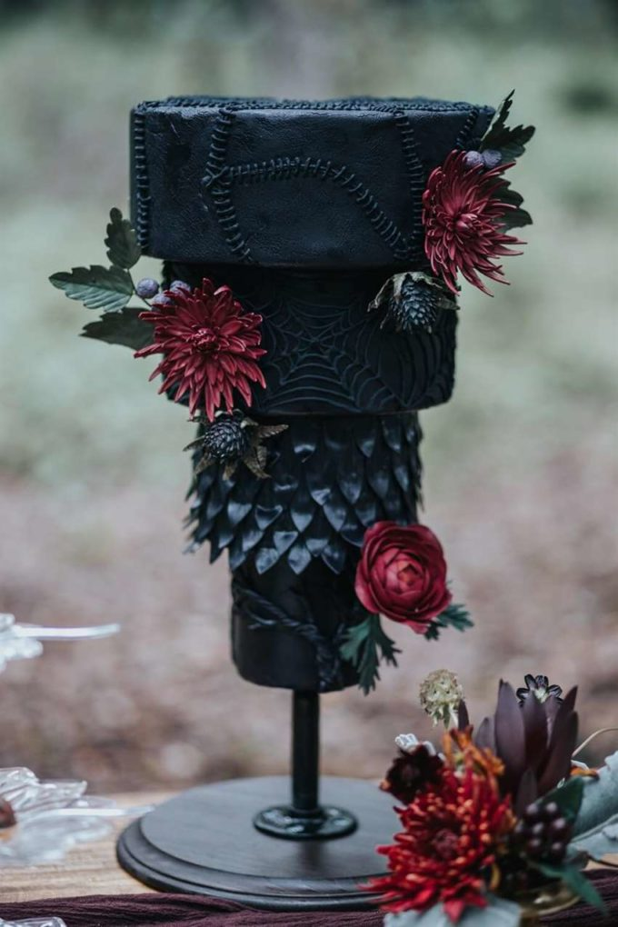 upside down dark flowers wedding cake for halloween