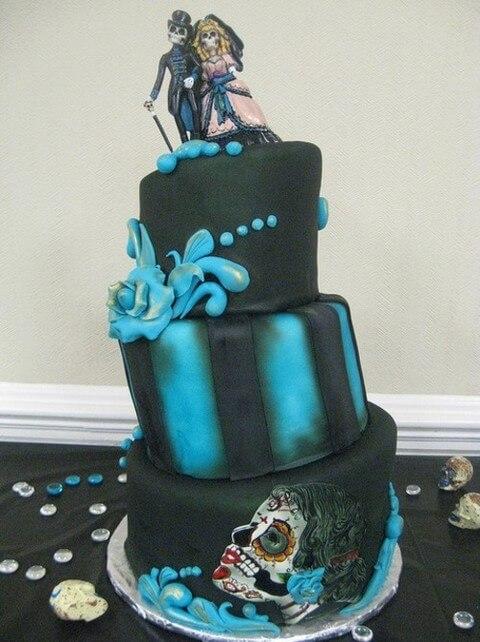 zombie bride and groom wedding cake