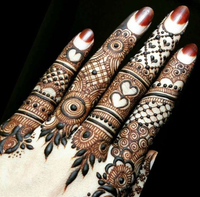 best ring style mehndi designs on fingers for valentines day