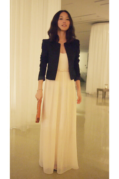 black blazer with long dress ideas for christmas chruch services