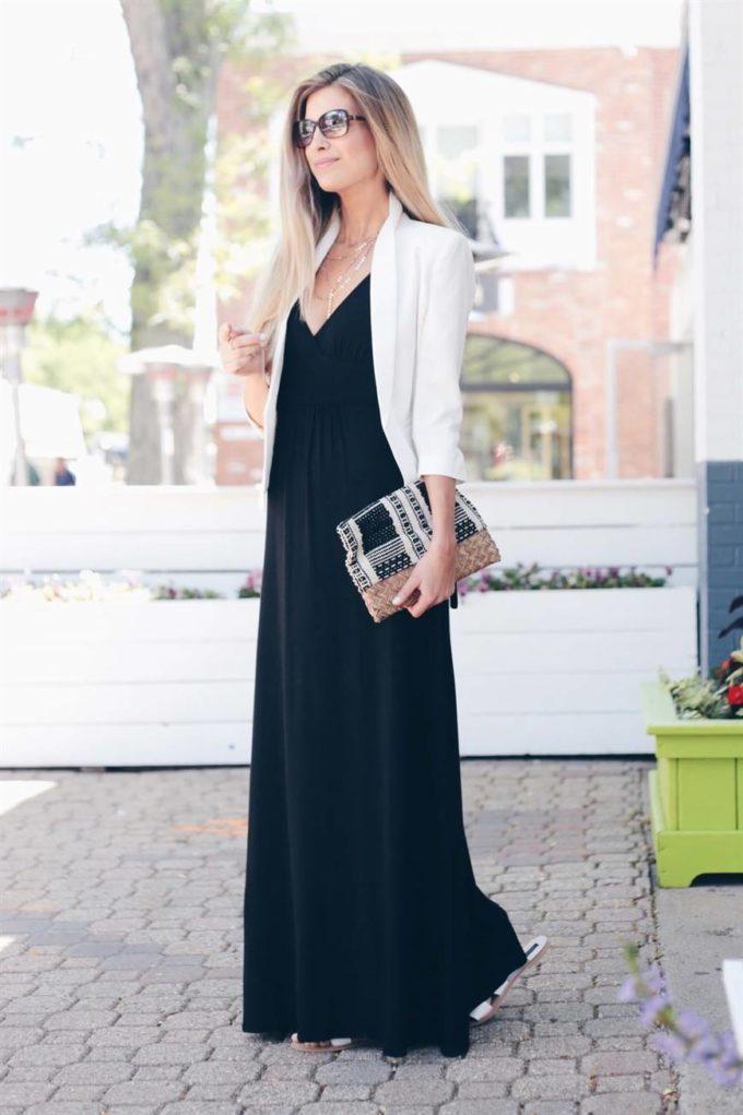 black maxi dress with blazer christmas church outfit ideas
