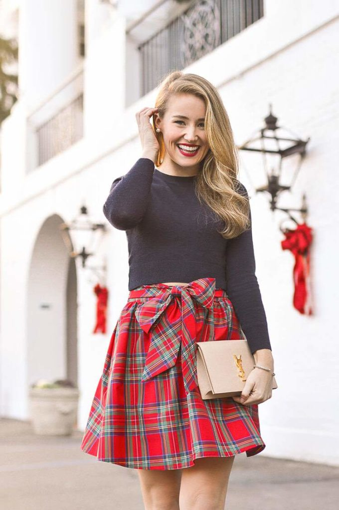 christmas plaid skirt outfit ideas for girls