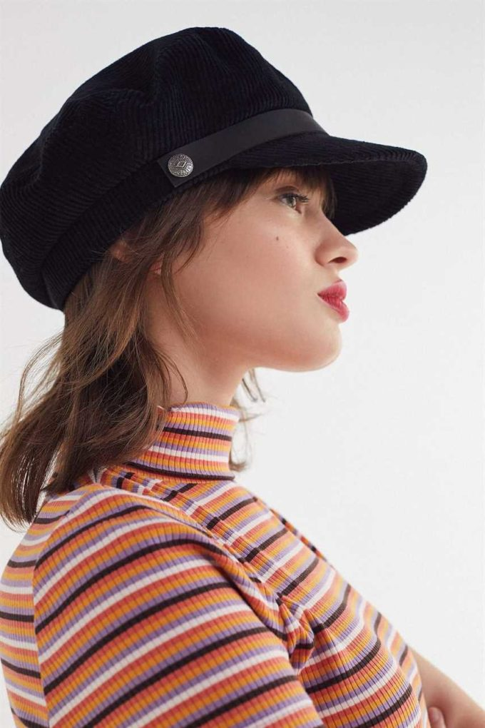 corduroy fisherman hat for girls with short-medium hair