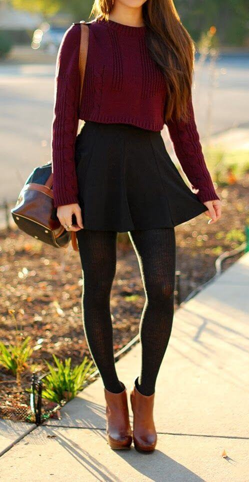 crop top sweater with skirt teenage girl fashion style ideas for christmas