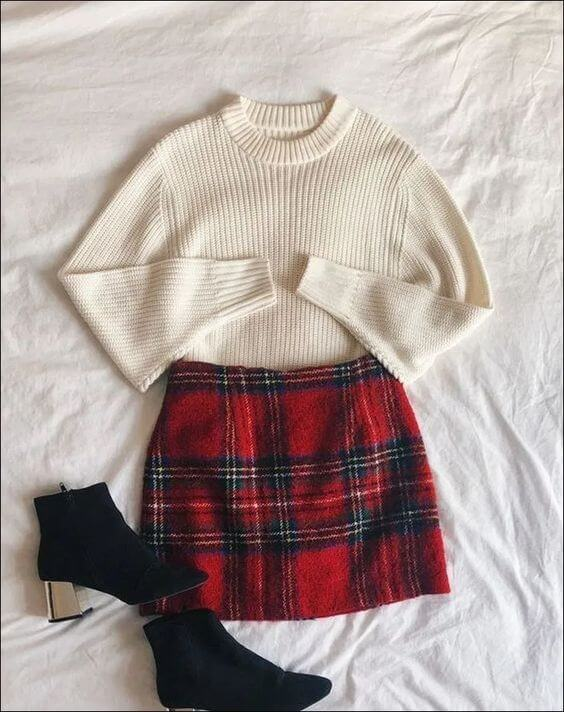 cute christmas holidays skirt outfit ideas for girls
