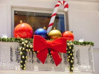 decorated balcony with christmas ornaments