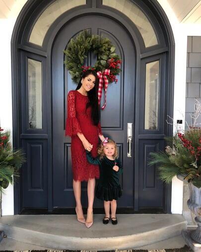 female dark red christmas dress ideas for chruch
