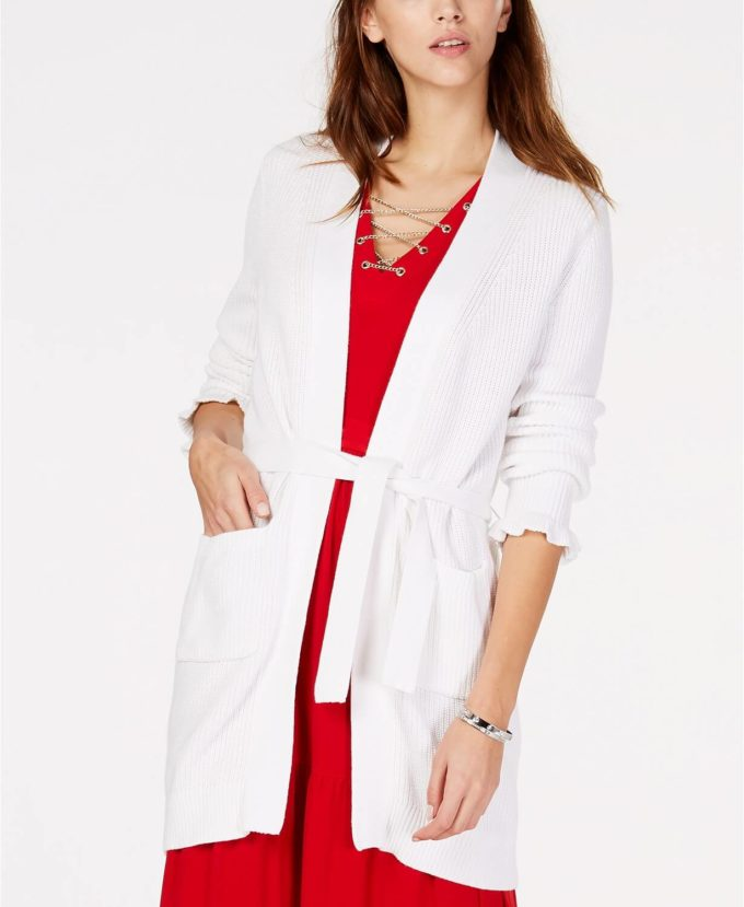 female white cardigan with red dress for christmas