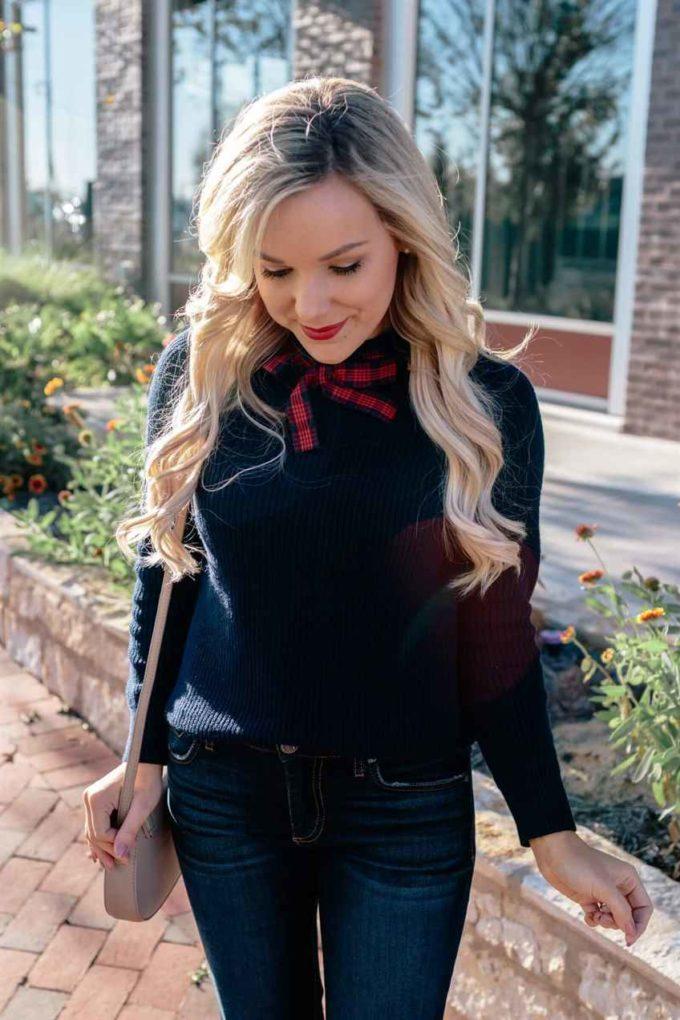 plaid bow with sweater and pant female outfit ideas for chruch