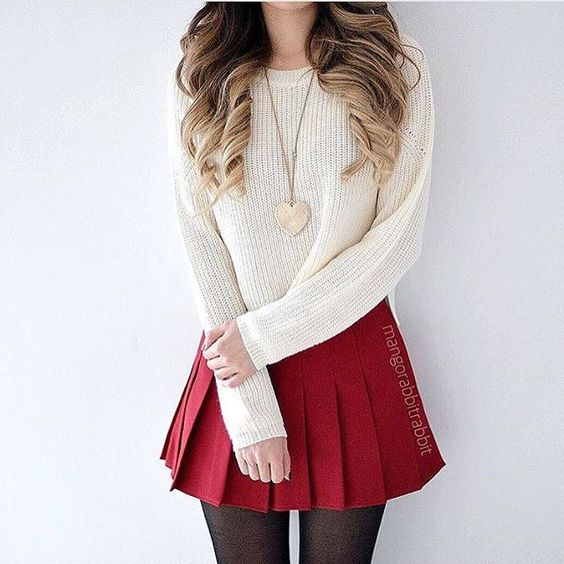 pleated mini skirt with sweater christmas outfit ideas for teen girls
