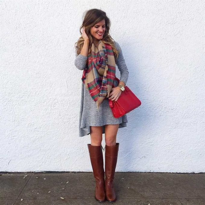 scarf with grey sweater christmas outfit