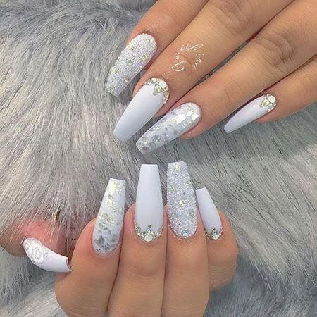 white acrylic coffin nails designs with rhinestones