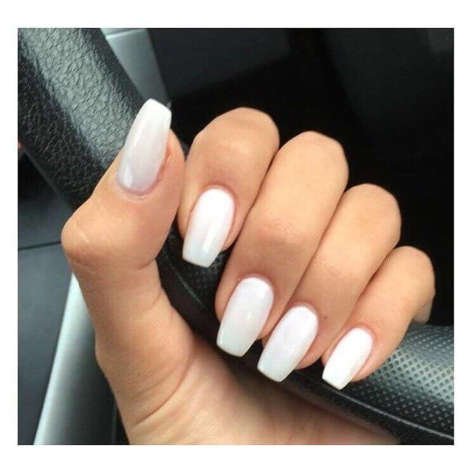 white gel acrylic coffin nails