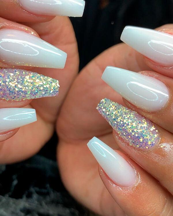 white glitter gel coffin nails
