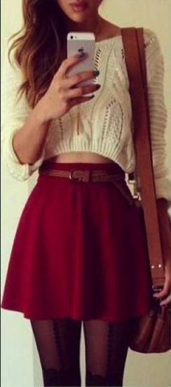 white sweater with red skater skirt christmas dress for girls