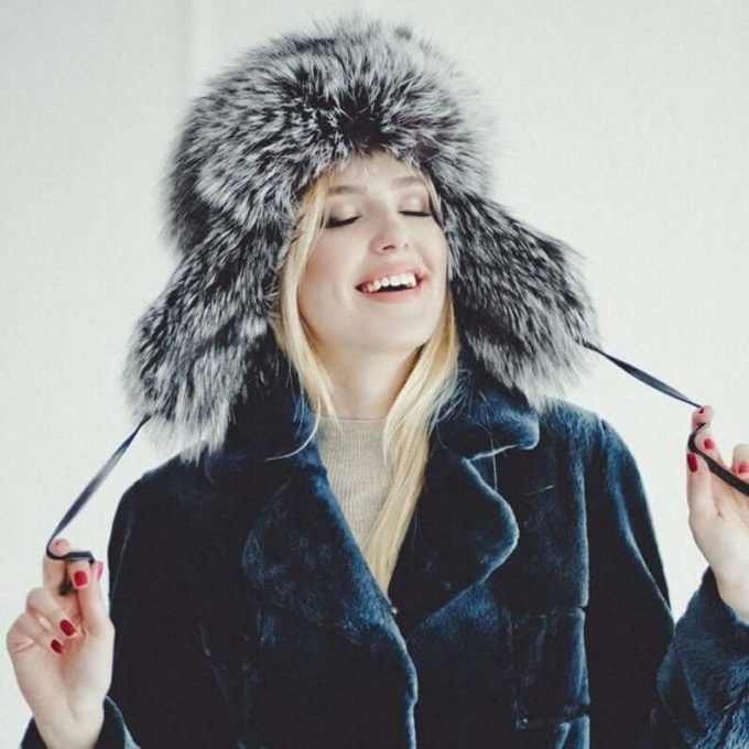 winter fox fur tropper hats for women with short-medium length hair