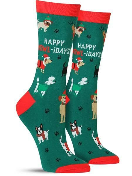 cute dogs holidays christmas socks