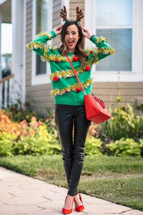 green christmas sweater with ornaments outfit for girls party