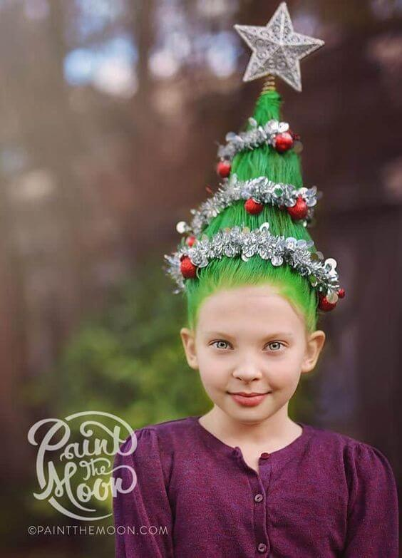 green christmas tree hairstyle inspirations for girls