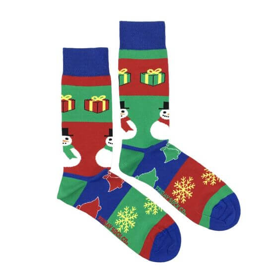 snowflakes with snowman-jingle bells and christmas gifts ugly socks