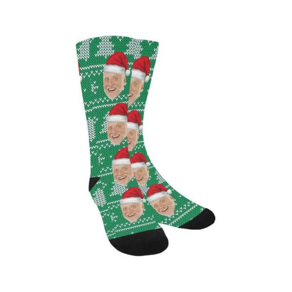 ugly christmas sweater socks  with picture of santa clause face