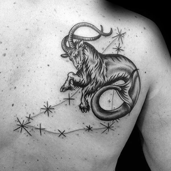 zodiac capricorn goat with fish tail tattoo back shoulder blade