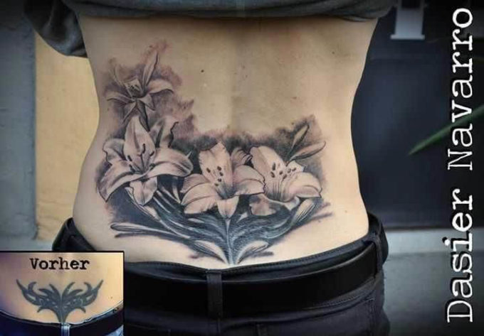 lower back flowers cover up tattoo
